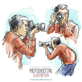 手描きの水彩画のカメラマンイラスト