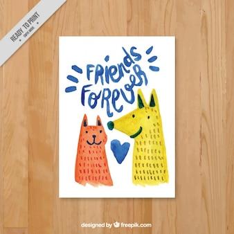 動物との楽しい水彩画友情カード