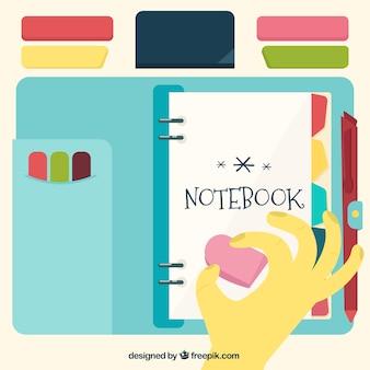 ヴィンテージスタイルでフラットのノートブックとアクセサリー