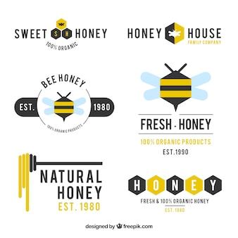 フラットデザインの蜂蜜の近代ロゴタイプ