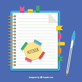 Ноутбук с закладками и ручкой