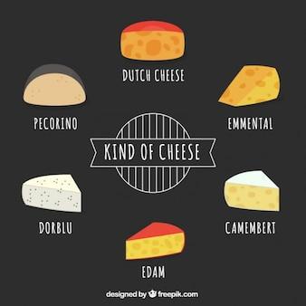 Коллекция рисованной сыра