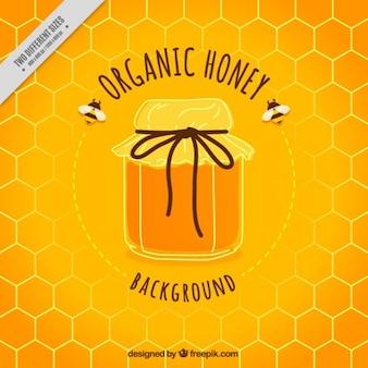 かわいい蜂蜜の瓶の背景