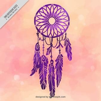 紫色の夢のキャッチャーと水彩画の背景