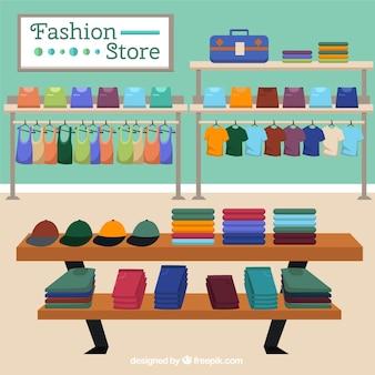 Магазин модной одежды сцены