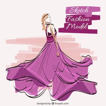 モデル身に着けている紫のドレスのスケッチ
