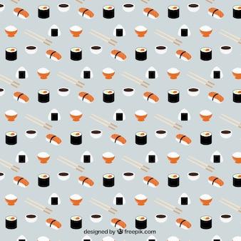 Симпатичные ручной обращается шаблон суши