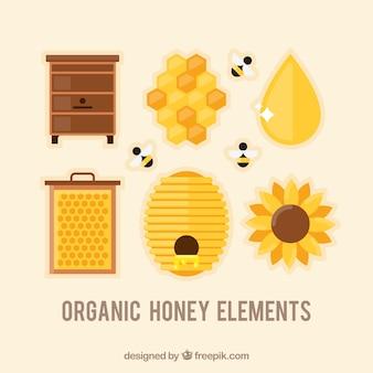 フラットデザインの蜂蜜要素のセット