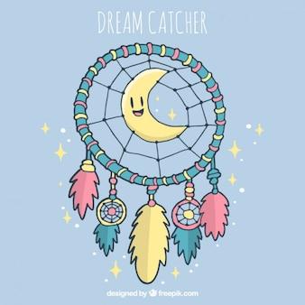 素敵な月と手描きドリームキャッチャーの背景
