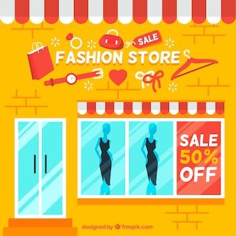 Желтый магазин модной одежды фон с продаж