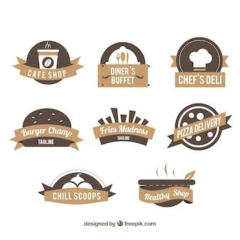レストランのロゴ、ブラウン色