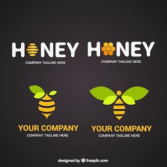 エレガントな蜂蜜のロゴ