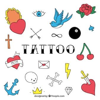 Студии татуировки значки, полный цвет
