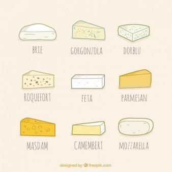 Вид коллекции сыра, ручной обращается стиль