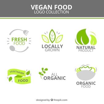 Симпатичные веганский логотипы еды