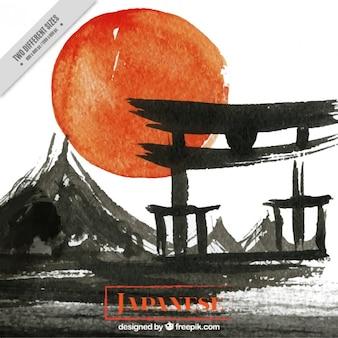 日没の水彩画の背景にある日本の寺院