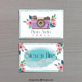 写真名刺、水彩画のスタイル