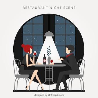夜のレストランのシーン