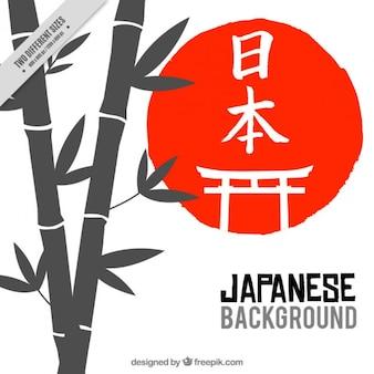 赤い円の背景と竹