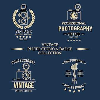 写真スタジオのレトロなスタイルのためのロゴ