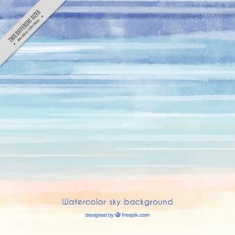 水彩画で描かビーチの背景、