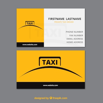 シンプルな黄色のタクシーカード