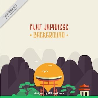 フラットデザインの山と日本の背景