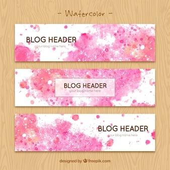 水彩汚れとブログのヘッダー