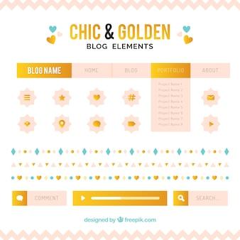 金色の詳細をブログアイテムのシックなコレクション