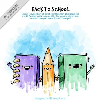 Акварельный фон дружественных школьных учебников и карандаш