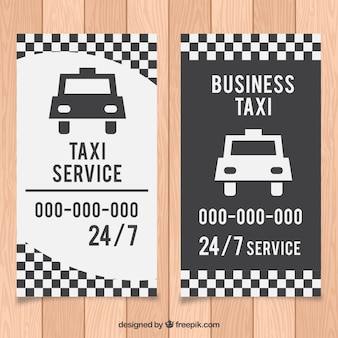 Белое и черное такси карточки водителя