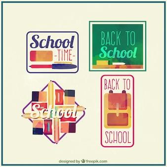 学校に戻ってのための手描きのバッジ