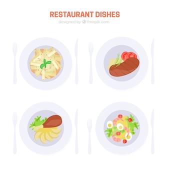 美味しいレストランのセット