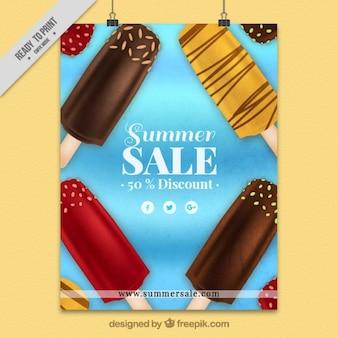 Летом продажи плакат вкусные мороженого