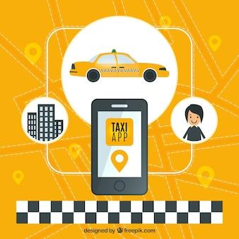 タクシーのアプリケーションの黄色の背景