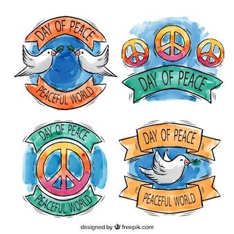 美しい水彩画のバッジ平和の日セット