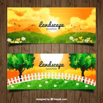 オレンジ色の空と風景