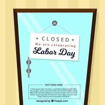 閉じられたドアとの労働日の背景