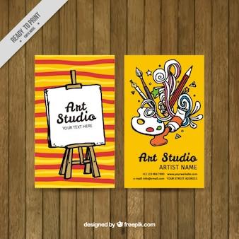 カラフルなアートスタジオカード
