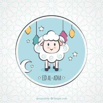 手描きパーティの子羊の素敵な背景