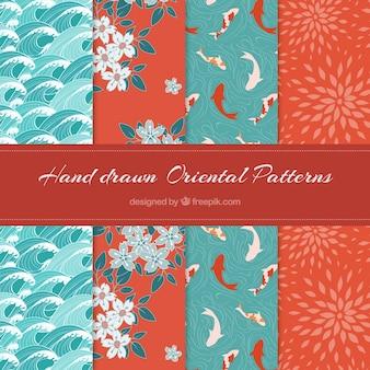 美しい手のセット東洋のパターンを描画されました