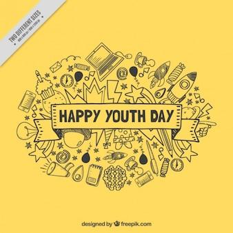 若者の日のための黄色の背景