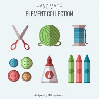 フラットデザインの縫製品や工芸品のアイテム