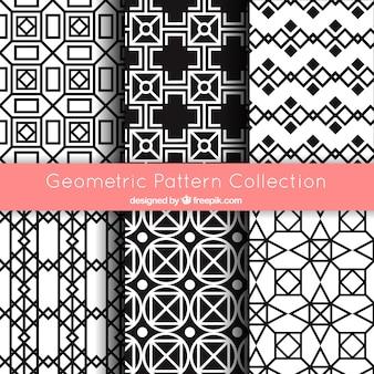 Коллекция геометрических узоров в черно-белом