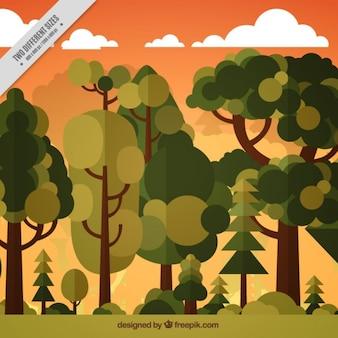 フラットデザインの絶頂の木のある風景の背景