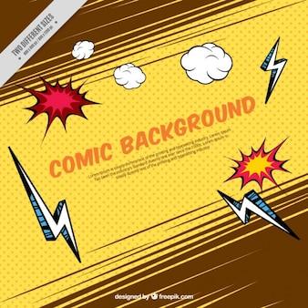 雷や漫画効果を持つヴィンテージの背景
