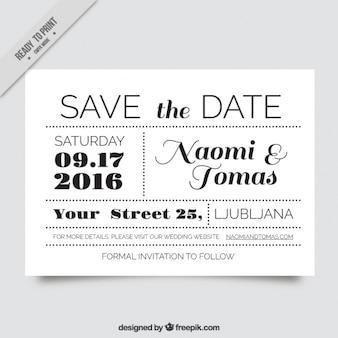 黒と白で非常にオリジナルの結婚式の招待状