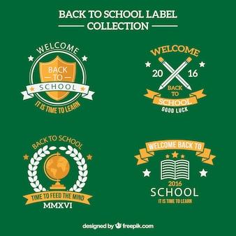 緑の背景に学校に戻ってのラベルのコレクション