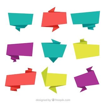 設定色付きの折り紙のバナー