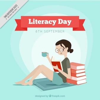 Грамотность день фон улыбается девушка читает книгу